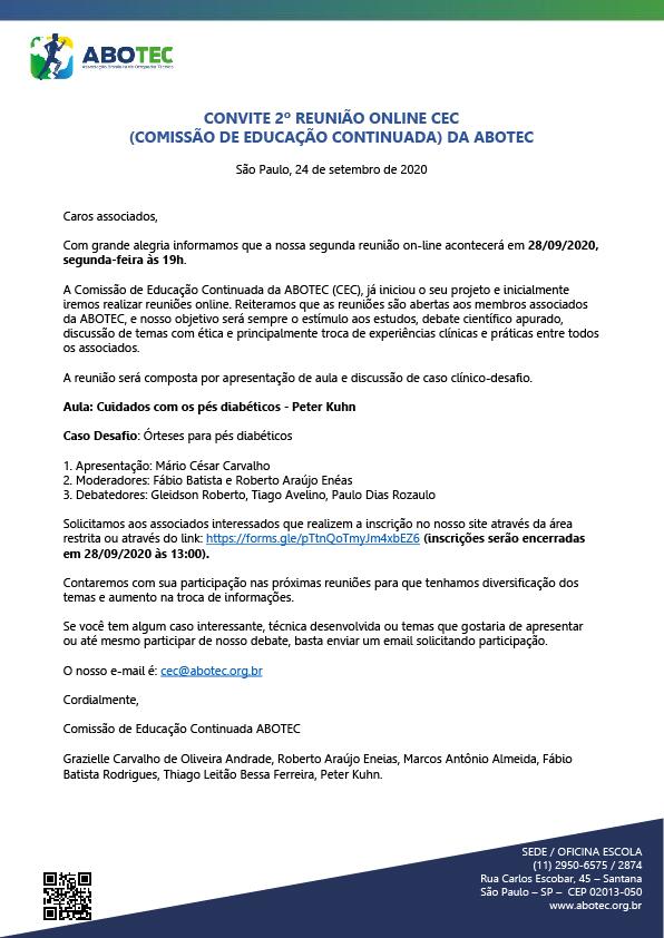 CONVITE 2º REUNIÃO ONLINE CEC COMISSÃO DE EDUCAÇÃO CONTINUADA) DA ABOTEC